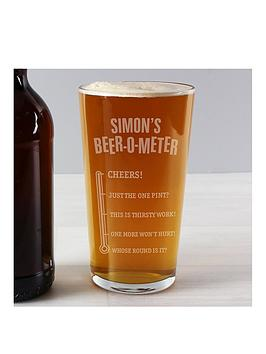 Product photograph showing Beer-o-meter Pint Glass