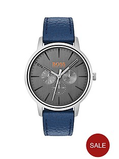 hugo-orangenbspcopenhagen-grey-dial-blue-leather-strap-mens-watch
