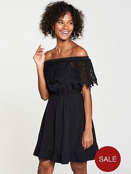 v-by-very-scalloped-lace-bardotnbspjersey-dress-black