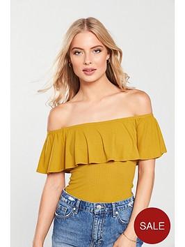 v-by-very-bardot-frill-bodysuit-mustard