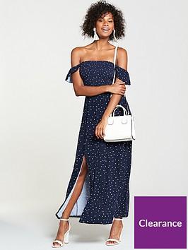 0c19013dbec V by Very Tall Shirred Bardot Jersey Maxi Dress - Polka Dot ...