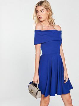 v-by-very-bardotnbspjersey-skater-dress-blue
