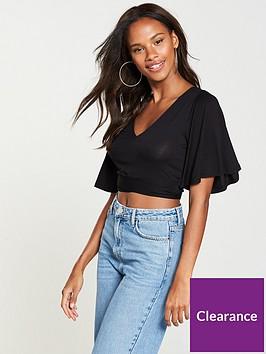 v-by-very-crop-angel-sleeve-top-black