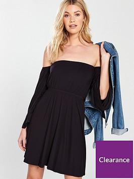 v-by-very-bardot-dip-front-jersey-dress-blacknbsp