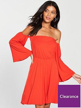 v-by-very-bardot-dip-front-jersey-dress-orange