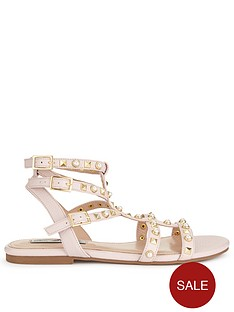 miss-selfridge-t-bar-studded-gladiator-sandal-nudenbsp