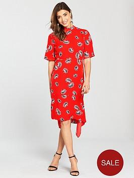 warehouse-fan-floral-cut-out-back-midi-dress-rednbsp