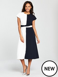 warehouse-colour-block-twist-front-dress-navywhite