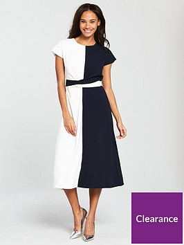 warehouse-colour-block-twist-front-dress-navywhite