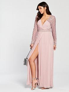 frock-and-frill-belina-long-sleeve-pleated-skirt-maxi-dress