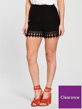 miss-selfridge-peite-lace-trim-crinkle-hem-shorts-black