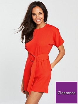 warehouse-o-ring-playsuit-red