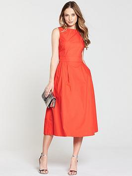 warehouse-tie-back-midi-dress-orangenbsp