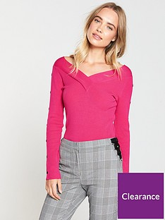 v-by-very-popper-sleeve-detail-v-neck-skinny-rib-jumper-bright-pink