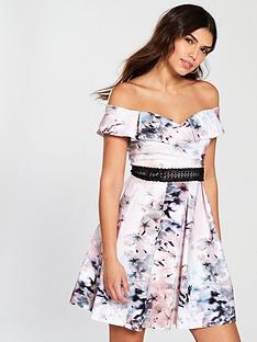 little-mistress-bardot-printed-skater-dress