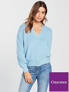 v-by-very-belted-hem-short-cardigan-blue