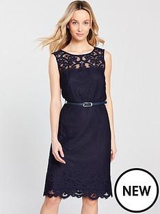 wallis-belted-lace-shift-dress-navy