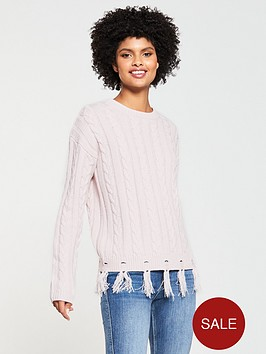 v-by-very-cable-nibbled-fringe-hem-jumper-blush-pink