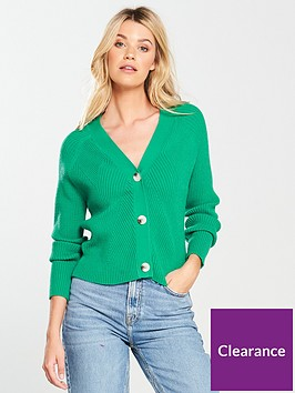 v-by-very-rib-detail-button-short-cardigan-green