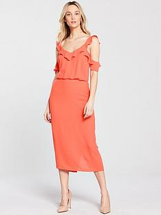 oasis-frill-cold-shoulder-midi-dress
