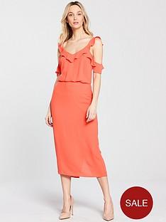 oasis-frill-cold-shoulder-midi-dress