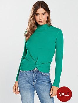 v-by-very-twist-front-skinny-rib-jumper-jade-green