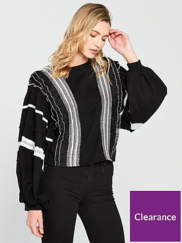 lost-ink-ruffle-and-fringe-trim-sweat-top-blacknbsp