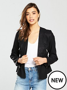 lost-ink-drop-waist-peplumnbsphem-jacket-blacknbsp