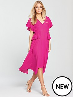 lost-ink-pleat-waist-midi-dress-fuchsia