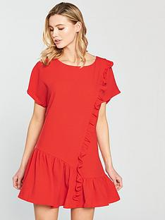 lost-ink-frill-front-shift-dress-red