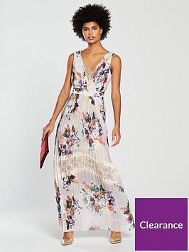 4a4e1c159cc4 Little Mistress Floral Print Pleated Maxi Dress - Multi ...