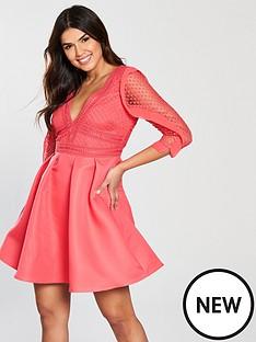 little-mistress-crochet-frill-detail-skater-dress-coral