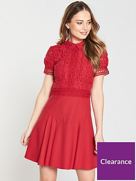 8f02995ee91b Little Mistress High Neck Lace Top Skater Dress - Pomegranate ...