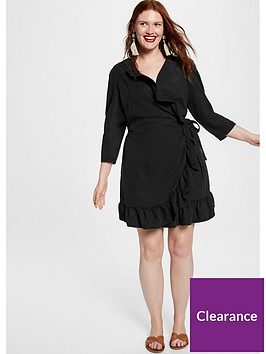 violeta-frill-wrap-dress-black