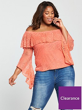 v-by-very-curve-lace-bardot-top-coral
