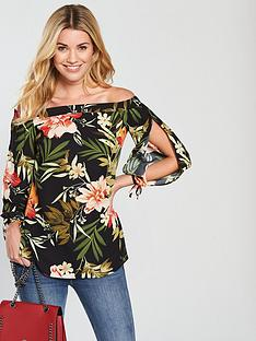 v-by-very-floral-bardot-top