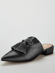 v-by-very-chicago-satin-tassel-point-flat-mule-black