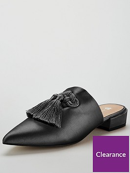 v-by-very-chicago-satin-tassel-point-flat-mule-black