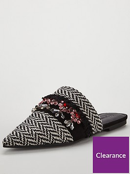 v-by-very-essaouria-woven-jeweled-point-flat-mule-blackwhite