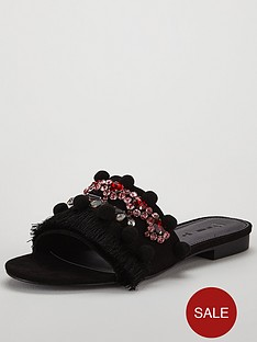 v-by-very-marrakesh-pom-pom-tassel-jeweled-slider-black
