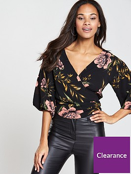 ax-paris-printed-wrap-front-bloom-sleeve-top-black