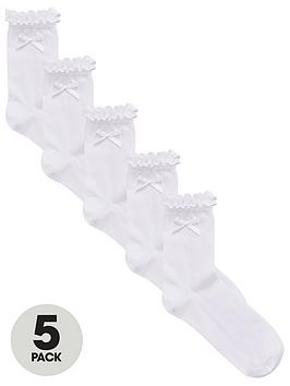 V by Very V By Very Girls 5 Pack Frill And Bow Ankle Socks - White Picture