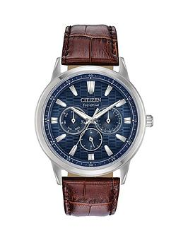 citizen-citizen-eco-drive-blue-multi-dial-brown-leather-strap-mens-watch