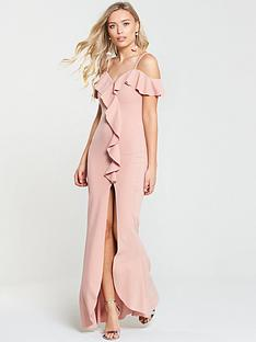 ax-paris-frill-front-dip-hem-maxi-dress-blush