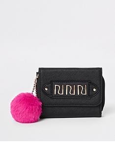river-island-girls-black-pom-pom-trifold-purse