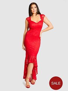 jessica-wright-lace-fishtail-maxi-dress-red
