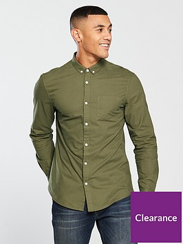 v-by-very-mens-long-sleeved-button-down-oxford-shirt-khaki