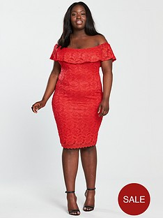 ax-paris-curve-frill-off-shoulder-lace-midi-dress-rednbsp