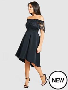 jessica-wright-lace-top-bardot-full-skirt-skater-dress-blacknbsp