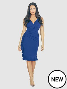 jessica-wright-v-neck-frill-side-midi-dress-bluenbsp